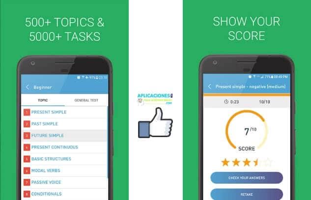 Capturas de pantalla de la aplicacion Ejercicios de gramática inglesa