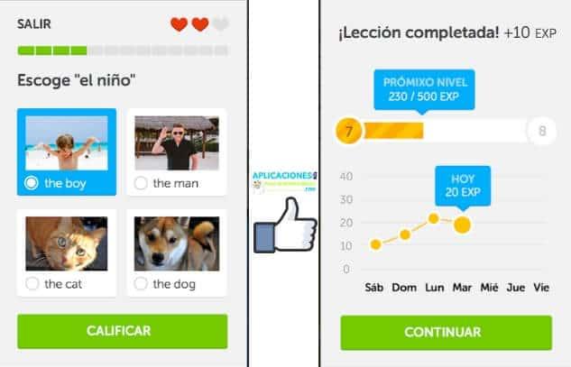 capturas de pantalla de duolingo app